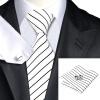 Н-0300 моде мужчины Шелковый галстук набор галстук платок Запонки белая полоса набор галстуков для мужчин формальных Свадебный бизнес оптом н 0343 моде мужчины шелковый галстук набор галстук платок запонки синяя полоса набор галстуков для мужчин формальных свадебный бизнес оптом