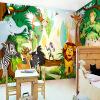 Пользовательские Детская комната Mural Обои 3D мультфильм Лесной фон Стены фрески Спальня Фото обои Живопись Animal Park пользовательские обои фрески 3d hd лесной рок водопад фотография фон стена картина гостиная диван фото mural обои