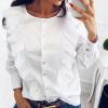 2017 Осень женщин Белая блузка Мода случайные пуговицы Блузка женщин Vintage Элегантные кружева шифон Топы