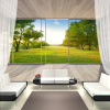 Custom Wall Mural Нетканые обои 3D Пространство Расширение Балкон Окно Наружная Лесная Пейзаж Стена Картина Murales De Pared 70cm x 200cm