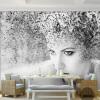 Пользовательские обои для рабочего стола Современная мода Черный белый Абстракция Искусство Красота Люди Фонарь Обои для спальни для спальни 3D для спальни