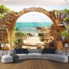 Пользовательские обои настенные обои Сад Каменные арки Sea View 3D Фото обои для гостиной Диван Спальня Backdrop Большие фрески