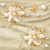 Европейский стиль Роскошные обои 3D Золотые ювелирные изделия Цветы Шелковые настенные обои Гостиная Телевизор Диван-фон Стеновое покрытие Home Decor