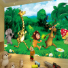 Пользовательские обои 3D Mural Обои Зеленый лес Мультфильм Животные Детская комната Спальня Фото Фон Обои для стен Обои для детей обои для стен в нижнем онлайн