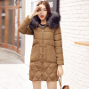 Winter New Arrival Women's Cotton-padded Long Coat Fashion Fur Collar Hooded Winter Warm Outwear Coat Jacket real fur coat long parka 2017 new winter women big natural raccoon fur hooded parkas warm fashion outwear casual style