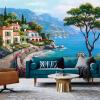 Пользовательские обои 3D Mural Обои Средиземноморская живопись маслом Ландшафтные настенные обои Домашний декор Гостиная Диван Телевизор Фон Обои на стенах loymina обои loymina 0601 st0601