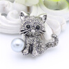 Lucky Zodiac Animal Cute Cat Brooch Pin For Women Rhinestone Animal Brooches Broches Simulation Pearl Russia Lapel Corsage Pin эхолот lucky ffw718li
