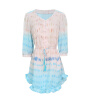 Lovaru ™2015 Новая мода женские платья О-образным вырезом пол-рукава случайные мини-платье летнее платье износ печати