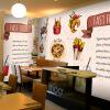 Фото обои Смазливая мультфильм обои гамбургер фаст-фуд ресторан кофе чай магазин большой роспись причал крыльцо дерево обои ресторан кофе
