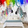 Красочный Zebra Граффити Обои Детская комната Гостиная Современная личность Интерьер Декор 3D Обои Papel De Parede Infantil интерьер и декор