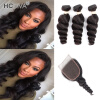 HCDIVA Индийские волосы Virgin Hair Loose Wave 3 с кружевным закрытием 130% Плотность Естественная черная Loose Curl с волосами Bundle 4Pcs / lot брюки горнолыжные rip curl rip curl ri027emzlc69