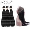 HCDIVA Перуанские волосы прямые 2/3 связки с 360 кружевами Фронтальное закрытие Девичьи волосы человека с кружевами Фронтальные салоны для волос салоны в тюмени где можно джили мк кросс