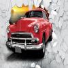 Пользовательские обои Mural Европейский ретро автомобиль сломанной стены 3D кирпичной стене Главная Decor Ресторан Бар Фон Фото обои custom 3d mural retro vintage plate большой панно бар ресторан тема отдых бар фон обои