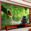 Пользовательские 3D-обои для фото Green Bamboo Cobblestone Фотография Фон Обои для стен Декорации Гостиная Современные обои фон для презентации черный
