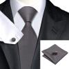 n-0311 Vogue мужчин шелковым галстуком зададим серый платок запонки установить связи твердые галстук для мужчин официальный свадебный бизнес оптом цена и фото