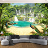 Пользовательские 3D обои Фрески Водопад Павлиньи озера Ландшафт 3D Эффект Гостиная Диван ТВ Фон Фото Стены пользовательские фото стены бумага 3d природный ландшафт большие фрески обои для гостиной фон домашний декор murales para pared 3d