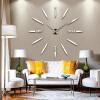 3D настенные часы безрамные Современные зеркальные металлы Большие настенные наклейки Часы настенные часы Room Home Decorations настенные часы алмаз 1259