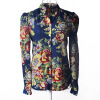 Women spring Printing Flower Sexy floral beautiful colorful collar long-sleeved shirt L34 beautiful darkness