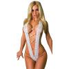 CXSHOWE Женщины Сексуальное женское белье Открытое переднее бикини Комплект Тедди Bodysuit Нижнее белье Нижнее белье Черный