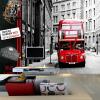 Пользовательские 3D обои Современный красный автобус Город Пейзаж Фотография Mural Обои Гостиная Кафе Ресторан Фон Стены Бумага Декор современный ресторан
