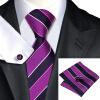 Н-0644 моде мужчины Шелковый галстук набор фиолетовый в полоску галстук платок Запонки набор галстуков для мужчин формальных Свадебный бизнес оптом н 0653 моде мужчины шелковый галстук набор фиолетовый в полоску галстук платок запонки набор галстуков для мужчин формальных свадебный бизнес оптом