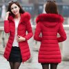 2017 New Women's Fashion Wool Collar Winter Thicken Warm Down Jacket Cotton-padded Jacket top ec mens winter thicken warm smalltand collar down jacket coat