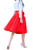 Lovaru ™летом стиль юбка 2015 новых женщин способа колена юбки длины красные плиссированные юбки высокой талией с луками плюс размер женские юбки в розницу