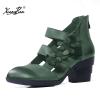 Женские сандалии сандалии женщин Xiangban плюс размер 6 cm ботинок пятки пятки пятки пятки ботинок неподдельные кожаные кожаные сандалии кожаные