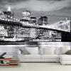 Пользовательские 3D-обои для фото Современный город Европейский и американский ночной вид Манхэттенский мост