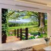 Пользовательские 3D-обои для рабочего стола Деревенский пейзаж для стен Высокие деревья Бассейн Lotus Wall Mural Фото Обои для стен Living Room Wall Decor декор для стен