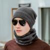 Yu Zhaolin (YUZHAOLIN) мужской зимний теплый утолщенный шерстяной колпачок плюс бархатный воротник вязаная шапка ветровая шерсть зимняя шерсть нагрудник синий кальсоны yu zhaolin