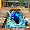 Бесплатная доставка Творческий Подводный мир 3D пол обои кабинет кабинет ванной самоклеящиеся пол фрески 250cmx200cm домашний кабинет