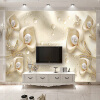 Custom 3D Mural Обои Европейский стиль Calla Lily Butterfly Water Drop Silk Wallpaper Hotel Living Room TV Backdrop Home Decor