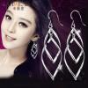 Carweaiya корейской версии женского листа стильные серебряные серьги ювелирные изделия кисточкой двойные скрученные серьги серьги