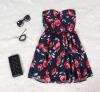 Lovaru ™Высокое качество женщин красный цветок распечатать на плечо платье Вечер сексуальное платье