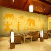 3D фото обои Таиланд стиль сад слон роспись кафе магазин чая обои гостиная диван обои бамбуковые обои каширский двор 3