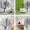 Новый Стильный Черный Пейзаж Дерево Дизайн Ванной Комнаты Водонепроницаемый Ткань Занавеса Ливня