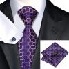 Н-0623 моде мужчины Шелковый галстук набор галстук Запонки платок фиолетовый геометрический набор галстуков для мужчин формальных Свадебный бизнес оптом н 0653 моде мужчины шелковый галстук набор фиолетовый в полоску галстук платок запонки набор галстуков для мужчин формальных свадебный бизнес оптом