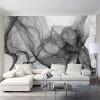 Пользовательские фото Нетканые обои Современное абстрактное искусство Черные и белые полосы Полосы Волны Гостиная Телевизор Фон Стена Картина