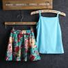 малого @ девушка летом без рукавов цветок печать футболку и юбки (хлопок) малого девушка летом без рукавов цветок печать футболку и юбки хлопок