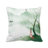 Waterfront Sadness Chinese Style Watercolor Polyester Toss Throw Pillow Square Cushion Gift beauty red flower chinese style watercolor polyester toss throw pillow square cushion gift