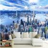 Новый дизайн текстуры обои 3D-стерео Blue Sky City Building Пейзаж фото Mural Столовая Гостиная Диван Фон Стены