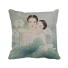 Beauty with Lotus Chinese Style Watercolor Polyester Toss Throw Pillow Square Cushion Gift