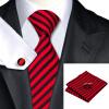 Н-0219 моде мужчины Шелковый галстук набор галстук платок Запонки Красная полоса набор галстуков для мужчин формальных Свадебный бизнес оптом икра красная оптом цена в спб