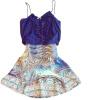 Lovaru ™новая мода горячей продажи женской темно-синий лоскутные платья V-образным вырезом без рукавов случайные мини-платье летом стиль свободное платье с v образным вырезом marni платья и сарафаны мини короткие