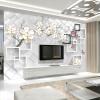 Пользовательские 3D-обои для фото Белый цветок ювелирные изделия 3D-ТВ фон Современный дизайн Настенная панно Нетканые обои Гостиная Спальня