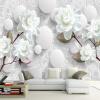 Пользовательский 3D стереоскопический росписи обои Европейский Мода Красивые Белый Пион Спальня Телевизор Фон Обои на рабочий стол Современный домашний декор