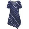 Timeson Summer New Striped Print Tee Women Basic Tops Short Sleeve Irregular Hem Женская футболка Женская трикотажная повседневная