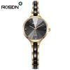 ROSDN женщин кварцевые часы женские часы браслет женщин наручные часы кристалл акцентированные керамические розы золото смотреть