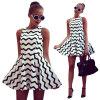 Lovaru ™летом стиль 2015 новых женщин платье Новая мода Черный и белый полосатый одежде Женское платье без рукавов платье цена и фото